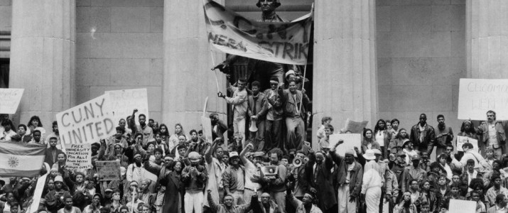 City University students at Federal Hall in 1989 protesting a proposed tuition increase. Credit Sara Krulwich/The New York Times